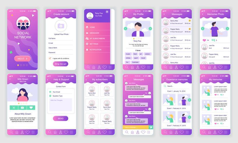 Set di UI, UX, GUI scherma modello di app flat di social network per applicazioni mobili, wireframe di siti Web reattivi. Kit UI di progettazione Web. Dashboard della rete sociale. vettore