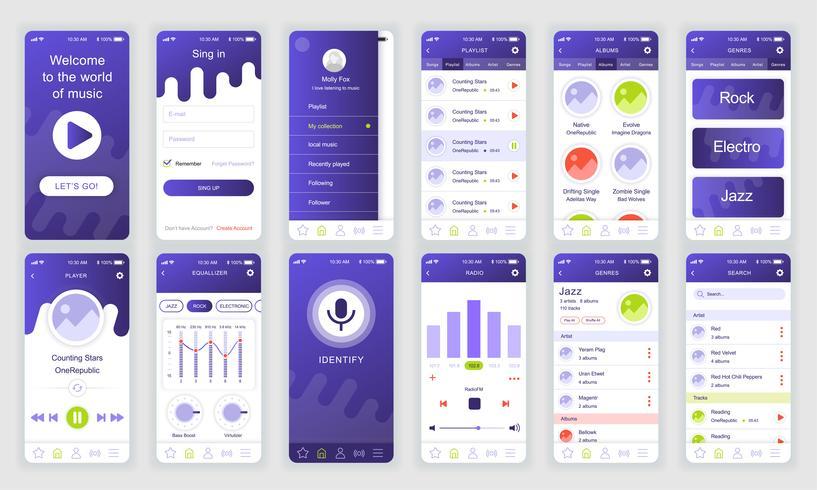 Set di UI, UX, schermate GUI Modello di app flat design musicale per applicazioni mobili, wireframe di siti Web reattivi. Kit UI di progettazione Web. Music Dashboard. vettore