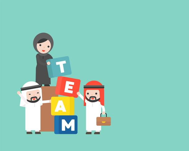 Gente di affari e responsabile arabi con il blocco di squadra, concetto di team-building vettore