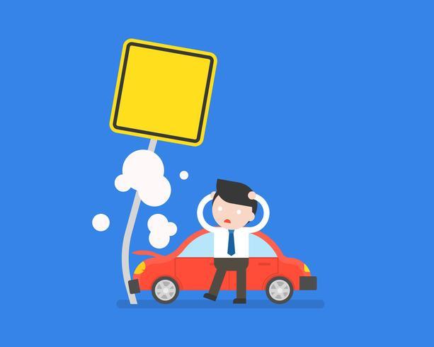 incidente d'affari e auto incidente con post sulla strada vettore