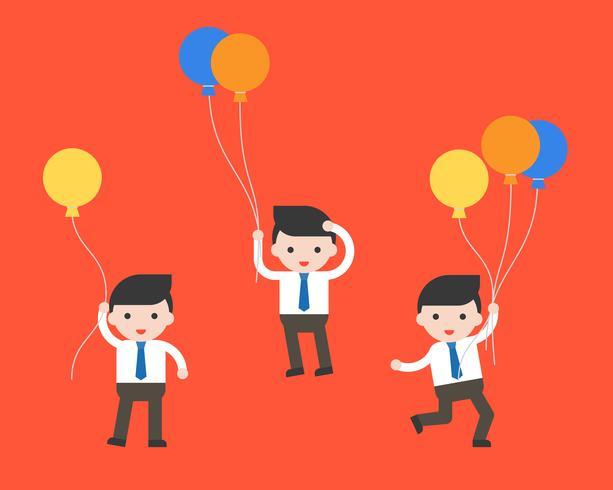 uomo d'affari e palloncini, carattere aziendale pronto per l'uso vettore