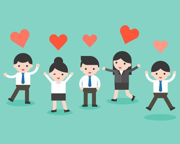 Gruppo di uomini d'affari e di cuore, situazione aziendale pronta per l'uso vettore