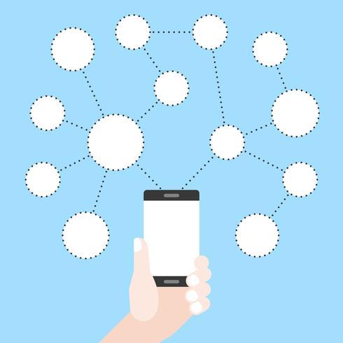 Passi il telefono cellulare della tenuta con il grafico della rete sociale del cerchio in bianco, progettazione piana vettore