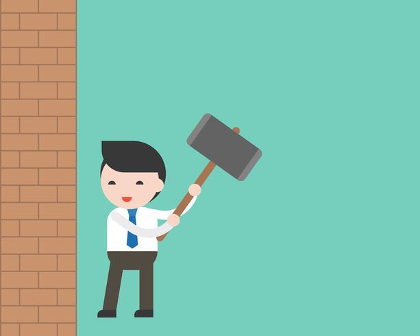 Il martello forante dell'uomo d'affari prepara al muro di mattoni di innovazione, concetto di libertà vettore