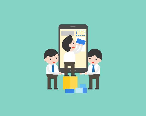 Gli uomini d'affari che aiutano a rendere il contenuto sul cellulare, vettore