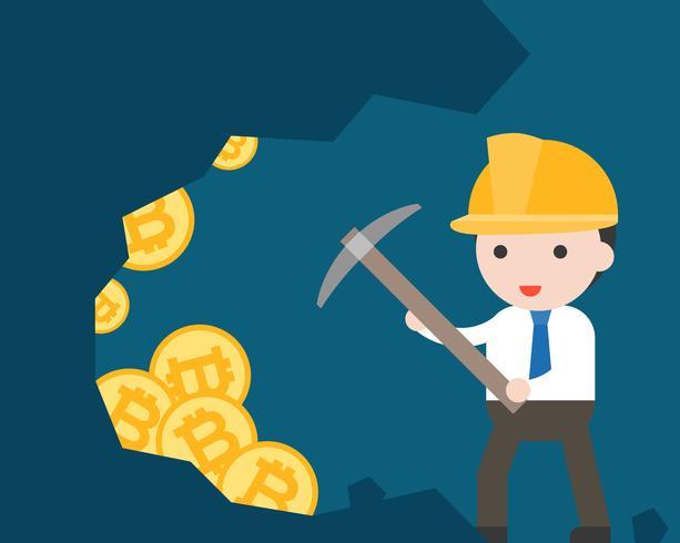 Uomo d'affari usa il piccone per trovare bitcoin, criptovaluta situazione aziendale mineraria vettore