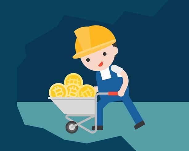 Lavoratore che spinge un carrello dei soldi del bitcoin, concetto di estrazione mineraria di criptovaluta vettore