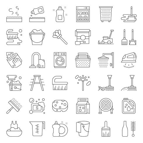 Set di icone di servizio di pulizia e servizio lavanderia e attrezzature vettore