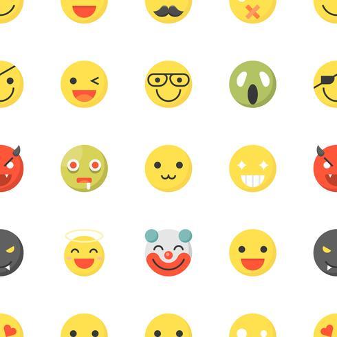 Emoticon seamless, design piatto per uso come sfondo o sfondo vettore