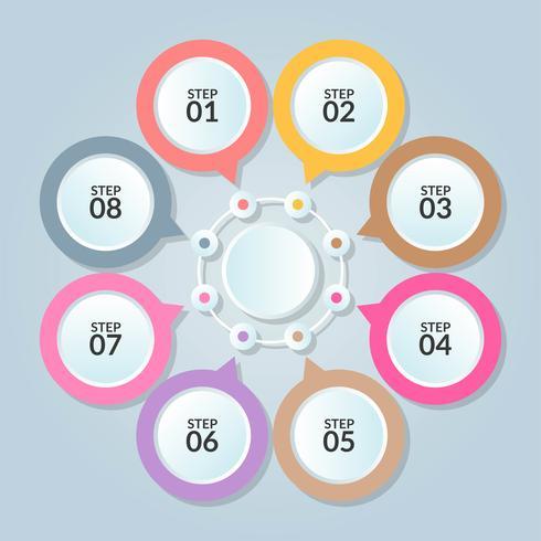 Modello di infographic della connessione del cerchio per l'uso nel poster del diagramma del flusso di lavoro vettore