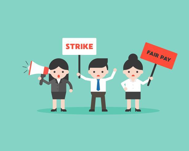 Protesti l'uomo d'affari e la donna di affari, situazione aziendale pronta per l'uso vettore