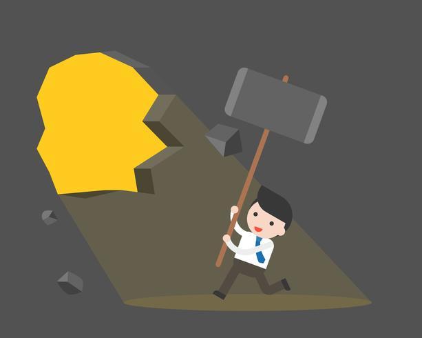 Il martello gigante di uso sveglio dell'uomo d'affari distrugge la parete vettore
