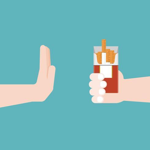 Non fumare, gesti delle mani no alla sigaretta, concetto di recupero dalla dipendenza vettore