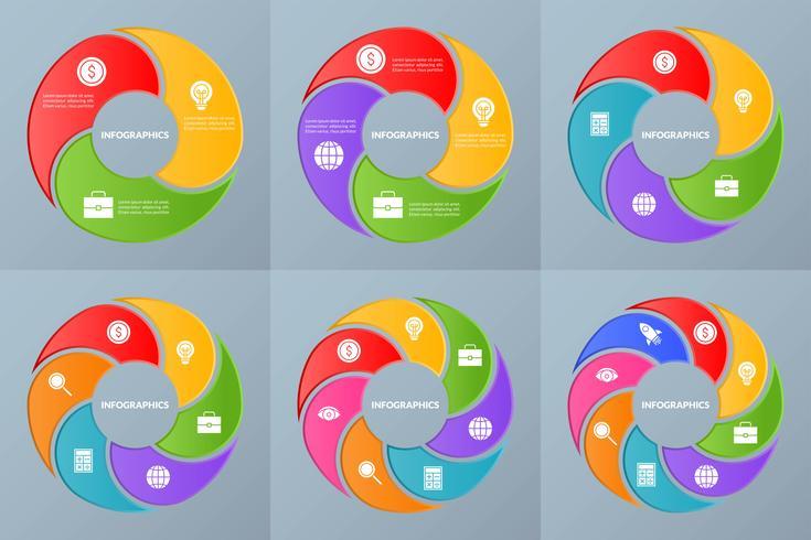Set di modello di infografica del diagramma di flusso o flusso di lavoro e glifo aziendale vettore