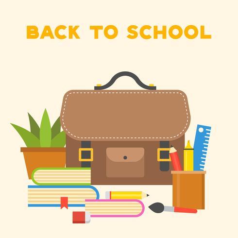 icona di borsa di scuola e materiale scolastico, design piatto torna a tema scolastico vettore