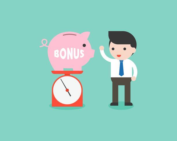 Il porcellino salvadanaio del peso dell'uomo d'affari su pesa la scala, soldi di risparmio e concetto di indennità vettore