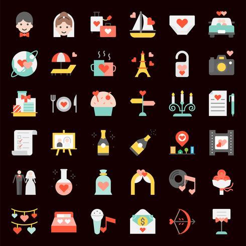 Set di icone di San Valentino, matrimoni e luna di miele vettore