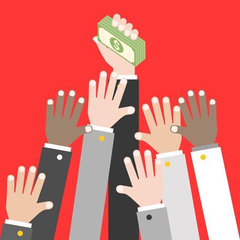 Mucchio della tenuta della mano di affari della banconota del dollaro, vettore