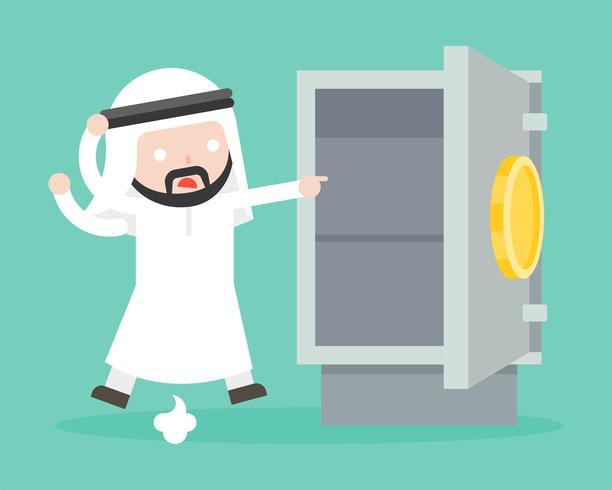 Uomo d'affari arabo paranoico perché oro e denaro sono stati rubati dalla cassaforte vettore