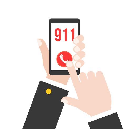 business mano che tiene telefono intelligente chiamando la polizia 911 dall'applicazione, design piatto vettore