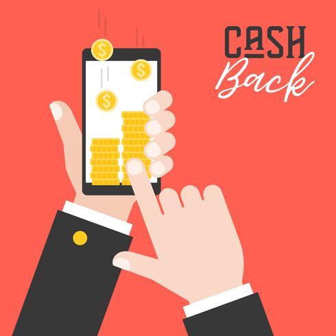 mano d'affari in possesso di smart phone e ottenere denaro dalla domanda vettore