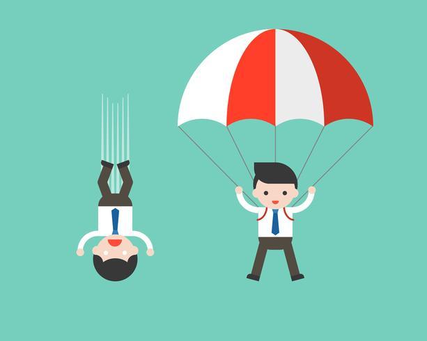 Caduta libera dell'uomo d'affari dal cielo e dall'uomo d'affari facendo uso del paracadute vettore