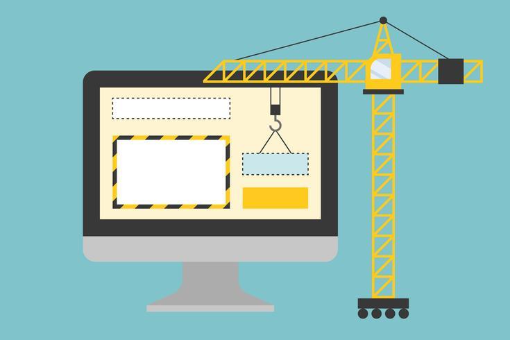 Gru che lavora con la pagina del sito Web sullo schermo del computer vettore