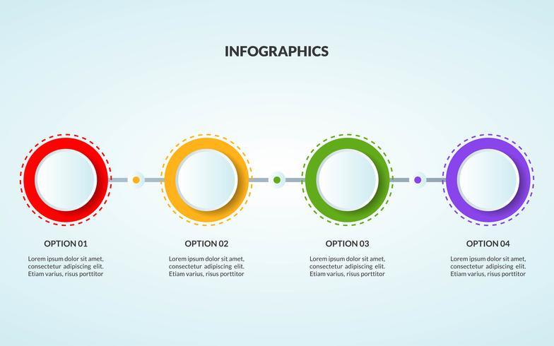 Modello di infografica del diagramma di flusso o del flusso di lavoro adatto per l'uso nella linea del tempo vettore