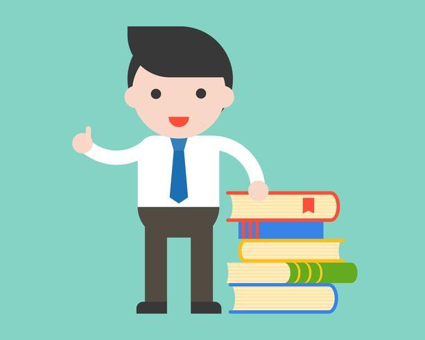 L'uomo d'affari, il bibliotecario o l'insegnante stanno con la pila di libri, concetto di istruzione vettore