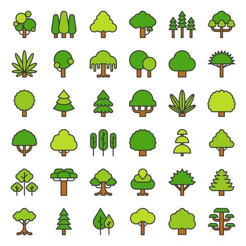 Icona semplice albero e pianta, disegno del contorno riempito vettore