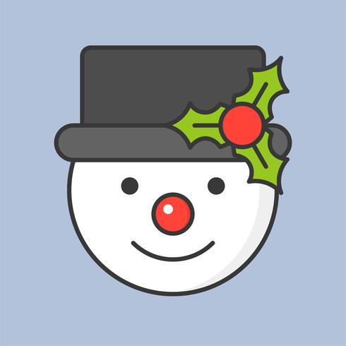 pupazzo di neve e vischio cappello, icona di contorno pieno per tema natalizio vettore