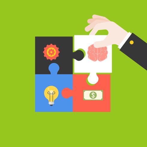 Qualificazione dell'imprenditore Puzzle di un'idea creativa vettore