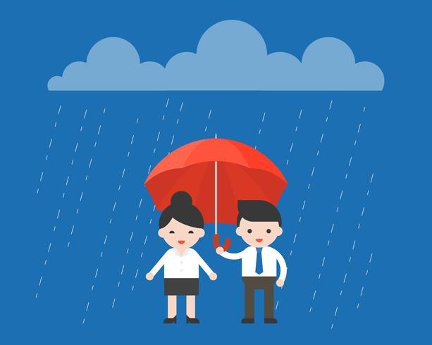 Uomo d'affari che divide un ombrello con la donna di affari, concetto del signore vettore