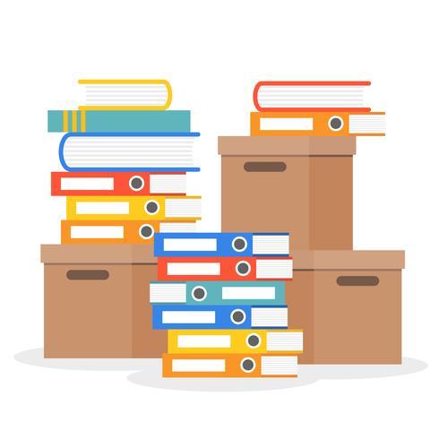 Pila di cartelle, libri e scatole di carta, design piatto vettore
