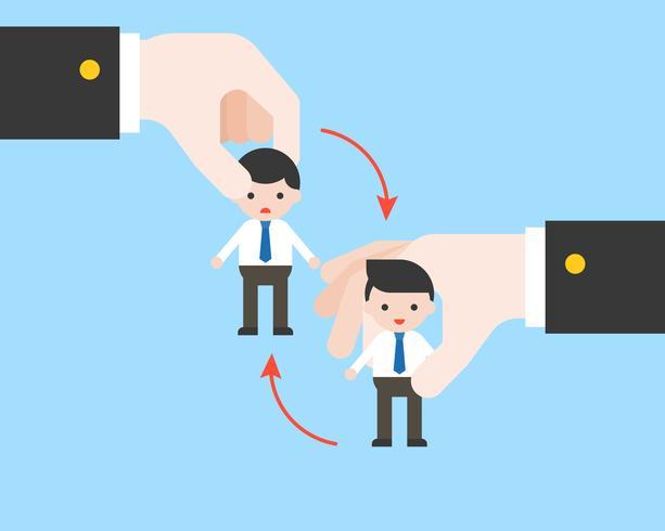 Burattino minuscolo cambiante dell'uomo d'affari della mano di affari, concetto sostituito di posizione vettore
