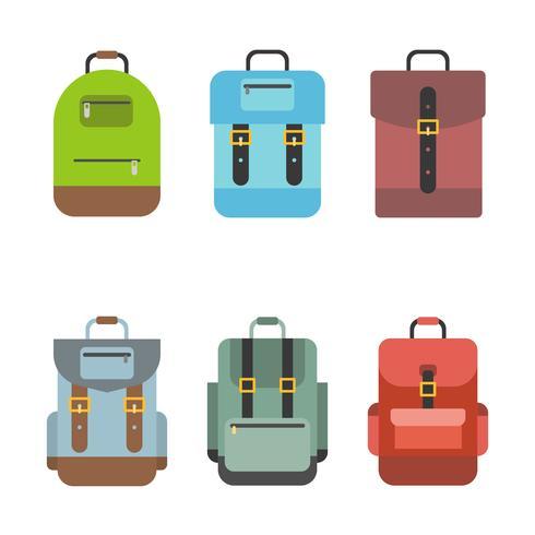 L'icona della borsa include zaino, zaino, borsa da scuola, design piatto vettore