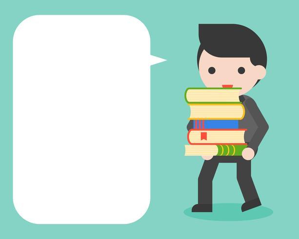 Pila di trasporto dell'uomo d'affari di libri e fumetto in bianco vettore