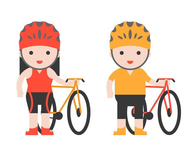 simpatico personaggio motociclista e bicicletta, design piatto vettore
