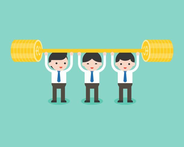 Squadra di uomo d'affari sveglio sollevamento pesi bilanciere, concetto di situazione aziendale vettore