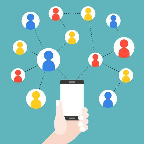 Mano che tiene il cellulare con il grafico della rete sociale vettore