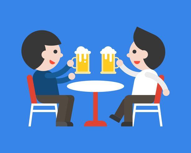 Due uomini che bevono birra insieme, riposano dopo il lavoro vettore