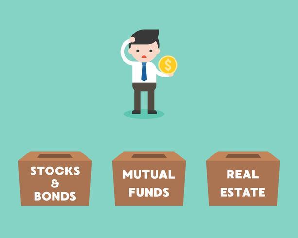 Uomo d'affari che sceglie la scatola per l'investimento tra azioni e obbligazioni, vettore