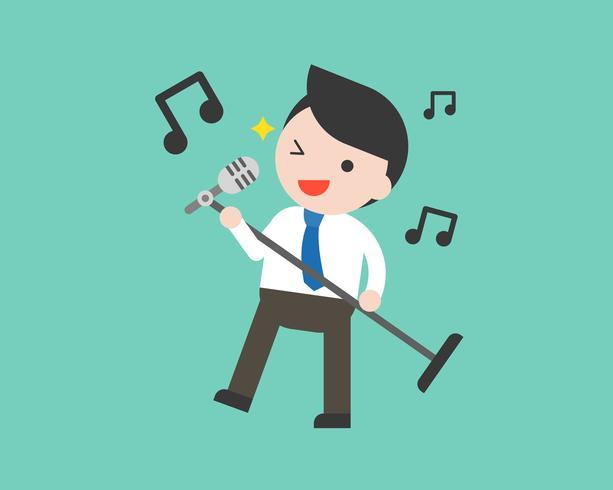Uomo d'affari tenendo microfono e cantando, design piatto vettore