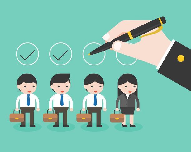 controllo della penna di tenuta della mano di affari sul cerchio sopra i caratteri di affari vettore