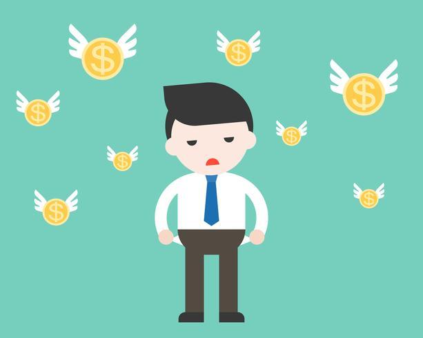 L'uomo d'affari non ha soldi con la moneta volante vettore