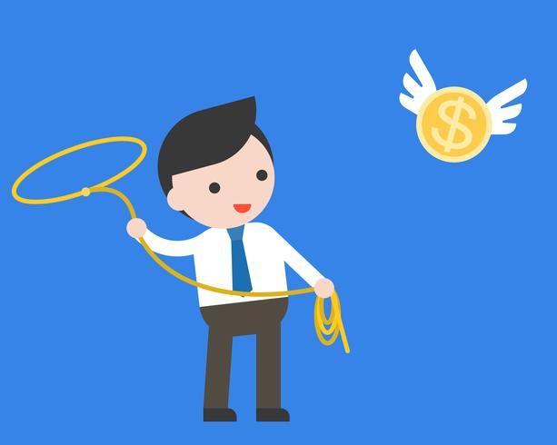 Uomo d'affari che usando il cappio del lasso che prende la moneta di oro di volo vettore