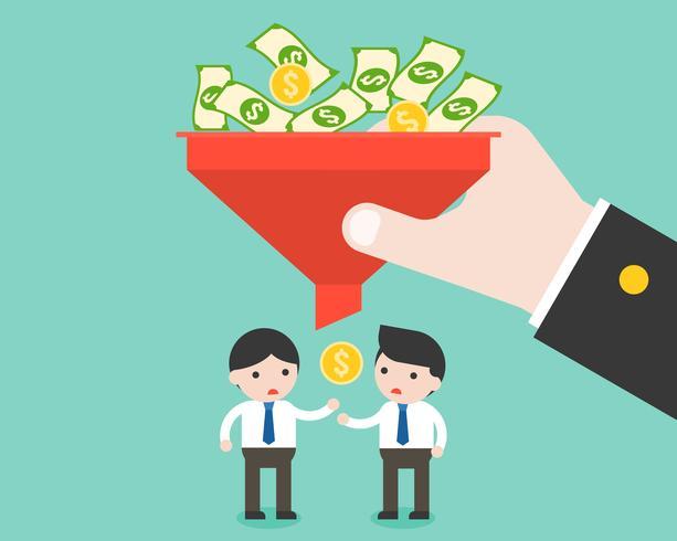 Uomo d'affari e piccoli soldi da filtro, capitalismo ingiusto pagato e disuguaglianza vettore