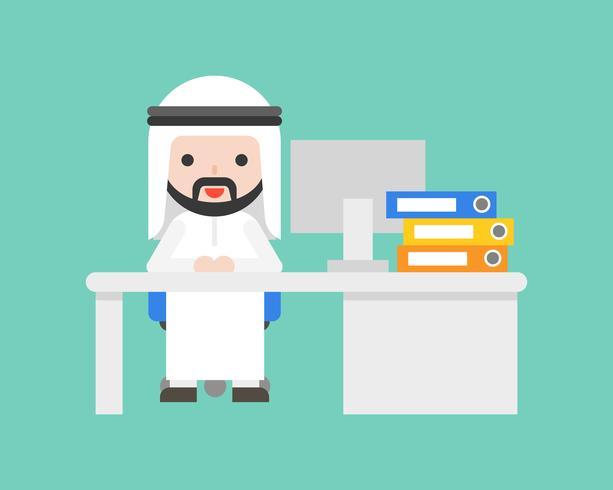 L'uomo arabo sveglio di affari si siede allo scrittorio, concetto del posto di lavoro di situazione aziendale vettore