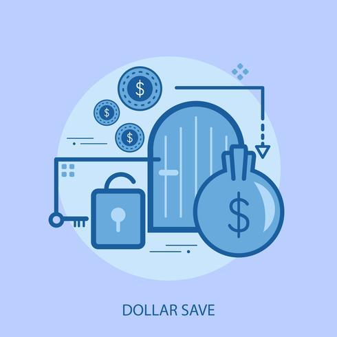 Disegno concettuale dell'illustrazione di risparmi del dollaro vettore