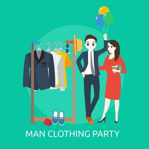 Progettazione concettuale dell'illustrazione del partito dell'abbigliamento dell'uomo vettore